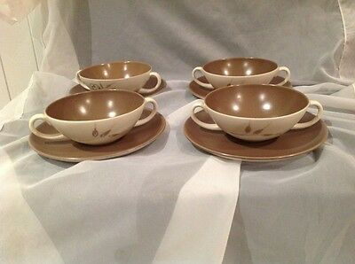 Set Of 4 Poole Trudiana ? Soup Bowls With Under Plates