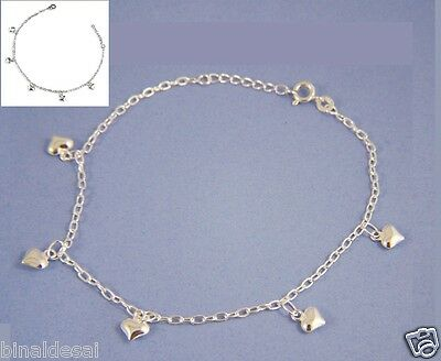 925 Sterling Silver Small Oval Linked Puffed Dangle Heart Anklet Bracelet Gift N