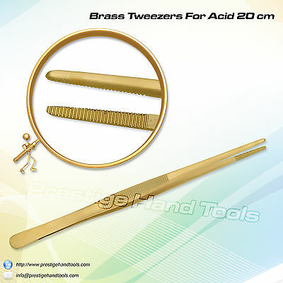 Prestige Brass tweezers for Acid pickling solution jewellery Making tools 8""
