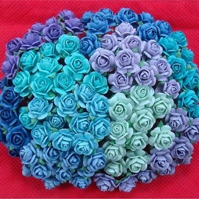 100 Mixed Mini Mulberry Paper Rose Flowers Blue Purple Green Tone Color 10 mm