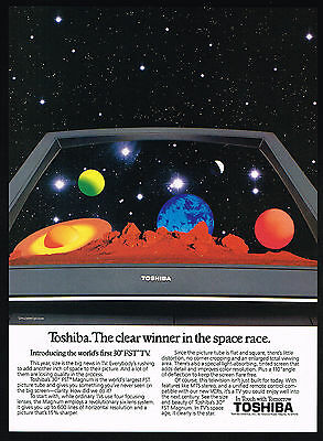 1987 Toshiba Worlds Largest FST TV Television Space Race Print Ad
