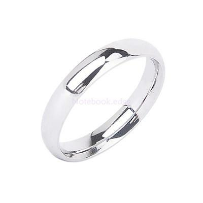 Solid Silver Stainless Steel Plain Wedding Band Ring Comfort Fit Engagement