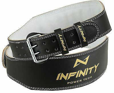 "INFINITY Weight Lifting 4"" Leather Belt Back Support Gym Power Training Fitness"