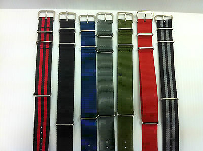 Military style Nylon Fabric watch strap / Band  Army,Nato, Divers 18, 20, 22mm