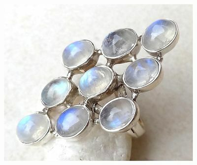 925 Sterling Silver RAINBOW MOONSTONE Semi Precious GEMSTONE RING SIZE 8 - P 1/2