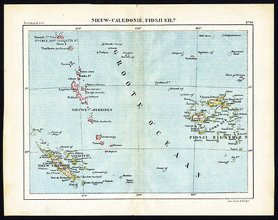 Antique Map-NEW CALEDONIA-FIJI-MELANESIA-PACIFIC-Jacob Kuyper-1880