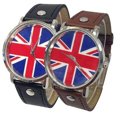 Vintage Style Union Jack Dial & Leather Band Fashion Watches For Men's/Ladies