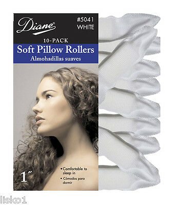 "Diane 5041 SATIN SOFT WHITE 1"" PILLOW HAIR ROLLERS,10-PK"
