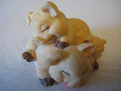 """""""SLEEPING PIGS MINIATURE FIGURINE""""  STACKED PIGS AND PIGLETS, 1 1/2"""" TALL"""