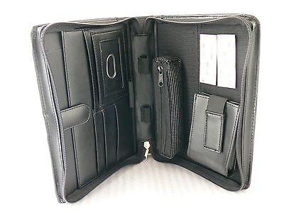 "New! Leather Portfolio w/ Credit Cards Phone Holder up to 8"" Tablet Case - BLACK"
