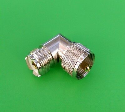10 HIGH QUALITY RIGHT ANGLE 90 DEGREE UHF CONNECTOR PL259 TO SO239 STRAIN RELIEF