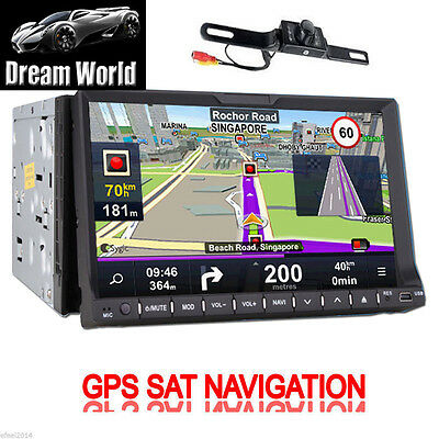 "New 7"" HD LCD Double DIN Car GPS Stereo DVD Player Touch Screen Bluetooth+Camera"