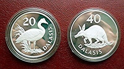 1977 Gambia - Official Proof Silver Set - Conservation - Goose & Aardvark