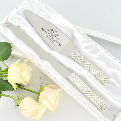 Personalised Favours Wedding Cake Knife and Serving Set - Diamante Stem Utensils