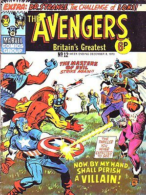 The Avengers #12_Marvel Comic_British Variant_Jack Kirby_1973_Bronze Age_VG+ 4.5