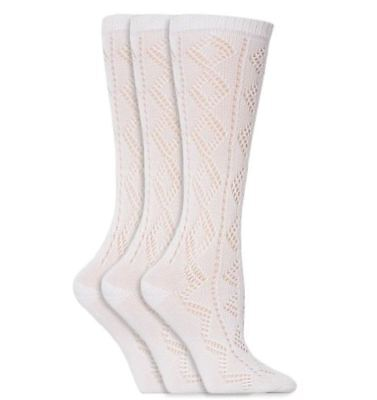 6 Pairs Girls White Knee High 3/4 Length Pelerine Cotton Rich School Socks