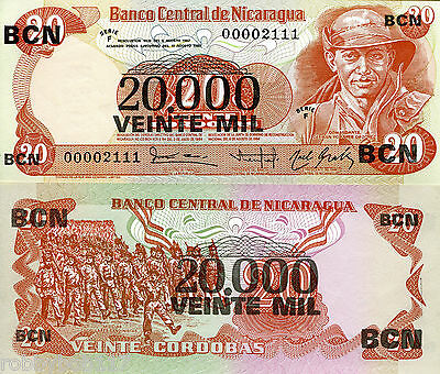 NICARAGUA 20 (20000 O/P) Cordobas Banknote World Money Currency p147 Bill Note