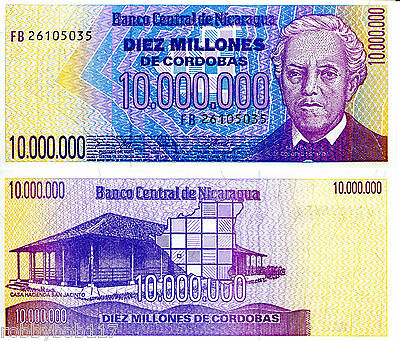 NICARAGUA 10000000 Cordobas Banknote World Money Currency p166 1990 Bill Note