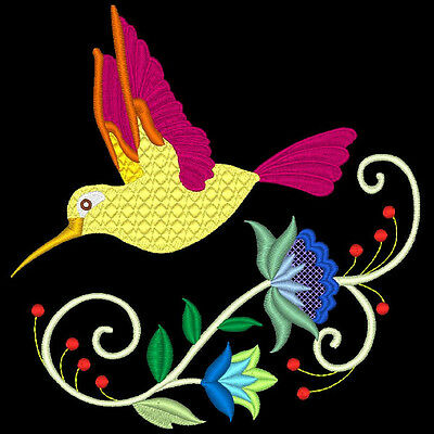 Jacobean Hummers - 60 Machine Embroidery Designs (Azeb)