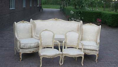 ANTIQUE (1880) FRENCH LOUIS XVI SOFA/COMPLETE LIVING ROOM SET  WITH 4 CHAIRS -