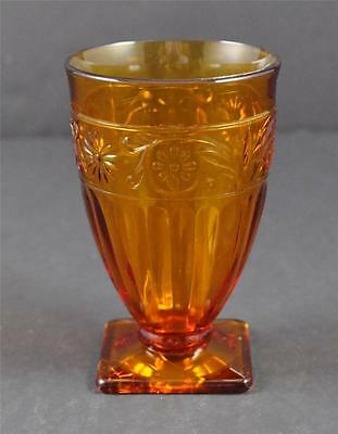 """Vintage Amber Indiana Glass Daisy 9 Ounce Footed Tumbler About 5"""""""