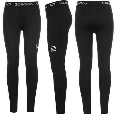 NEW Kids Youth Boys Girls Compression Base Layer Skins Tights Black - Sondico