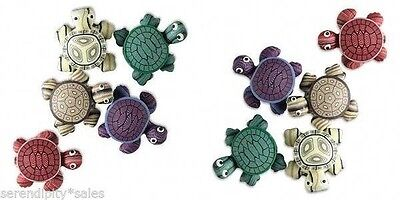POLYMER CLAY TURTLE MAGNETS Lot of 5 Assorted Colors 24x22mm (1 inch) So CUTE!!