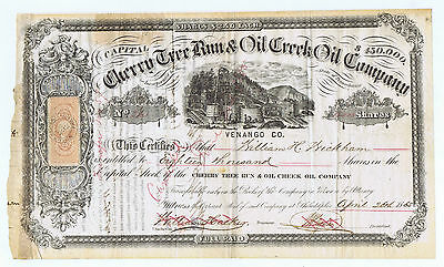 CHERRY TREE RUN & OIL CREEK SIGNED by FUTURE NYC MAYOR WH WICKHAM 18,000 SHARES