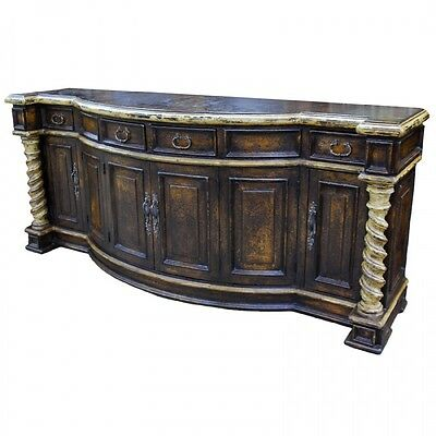 """97"""" W Buffet Sideboard Arch shape Distressed paint Reclaimed wood Handcarved"""