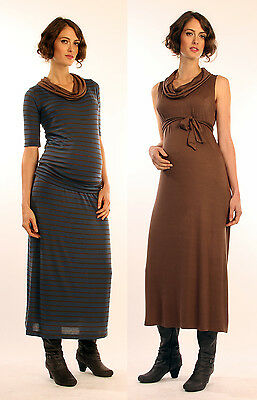 New Japanese Weekend Maternity & Nursing Stripe Lightweight Knit Maxi Dress Lot