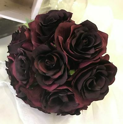 Silk Wedding Bouquet Burgundy Roses Posy Bouquets Artificial Flowers Rose 20 Bud