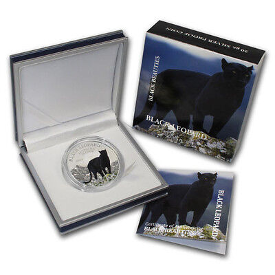 2013 Congo Large Silver Color Proof 1000 fr Black Leopard(Panther)- Nice Box