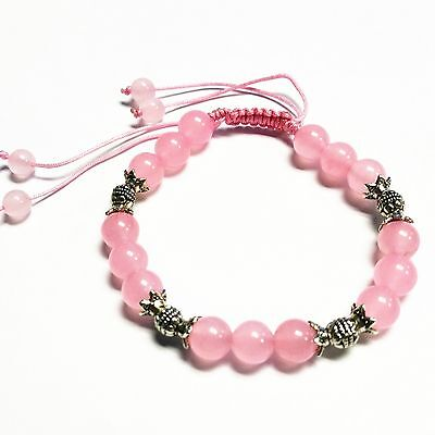 Feng Shui Handmade Pink Rose Quartz Crystal Bracelet amulet for Love