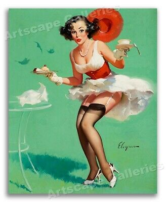"""""""Fresh Breeze"""" Vintage Style Elvgren Pin-Up Girl Poster Windy Day - 16x20"""