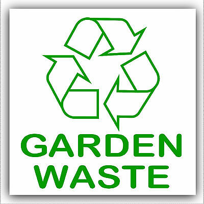 Garden Waste-Recycle Self Adhesive Bin Sticker-Printed with Recycling Logo Sign