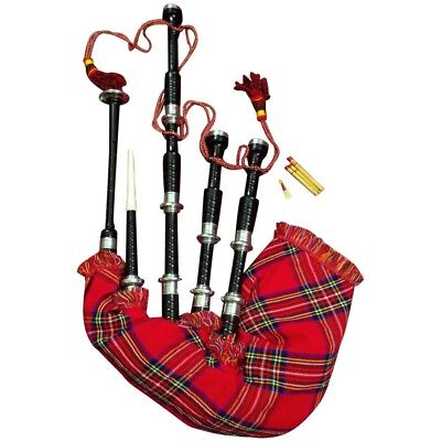 New Scottish Great Highland Bagpipe Rose Wood Black Color Silver Plain Mounts