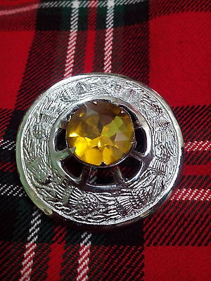 TC Scottish Kilt Fly Plaid Brooch Yellow Stone/Highland Fly Plaid BroochesKilt