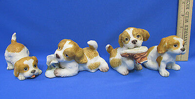 Lot of 4 Homco Porcelain Playful Spaniel Puppies Chewing Puppy #1405 & 1407
