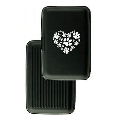 Aluminum Security Wallet Credit Card Case Purse RFID Blocking Heart Paw Prints