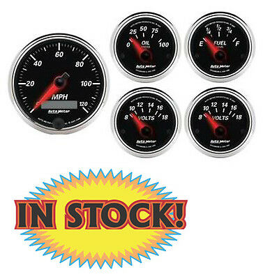 "Auto Meter Designer Black II Electric 5-Gauge Set 3-3/8"" and 2-1/16"" 1201"