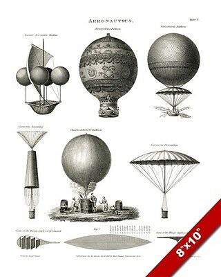 1800's Aeronautics Hot Air Balloon Boys Room Man OFFICE CANVAS 8X10 ART PRINT