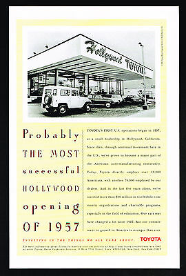 1996 Toyota First Car Dealership 1957 Hollywood California Print Ad