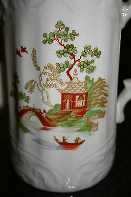 Antique White Porcelain Pitcher in Export Style Hand Painted/Gold Mystery Mark