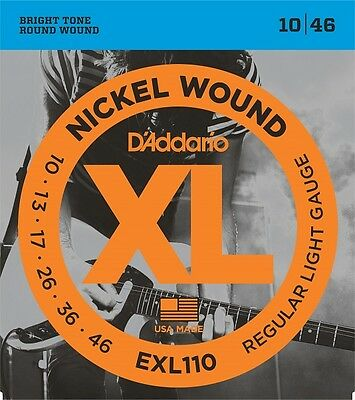 3 x D'Addario EXL110 Electric Guitar Strings 10-46 .3 SEPARATE PACKETS