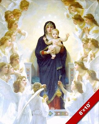 Baby Jesus & Mary With Angels Catholic Real Canvas Giclee 8X10 Art Print