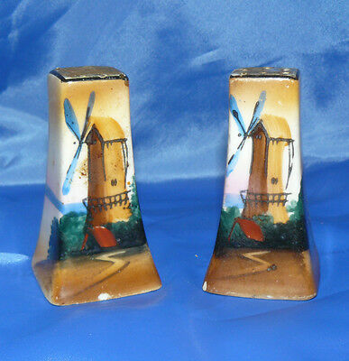 Rare Vintage Japan Salt and Pepper Shakers Windmills Hand Painted Collectable