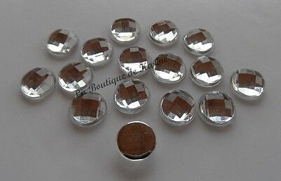 15 PERLES STRASS CABOCHON ROND A COLLER ACRYLIQUE TRANSPARENT 18 mm - BIJOUX