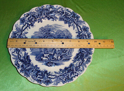 "Booths England BRITISH SCENERY Blue & White CHINA 9 3/4"" Scalloped  DINNER PLATE"