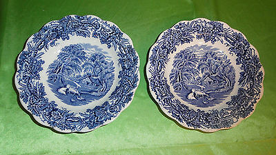 Booths England BRITISH SCENERY Blue & White CHINA Set of 2 SAUCERS Have Crazing