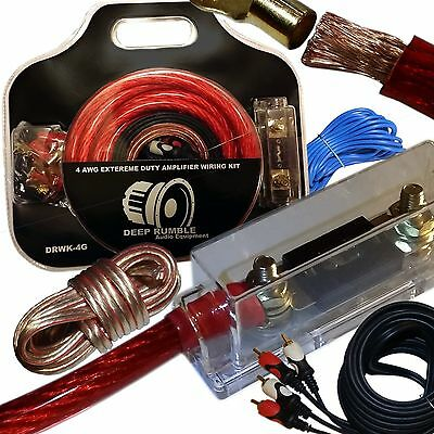 Deep Rumble 4 Gauge Extreme Duty Wiring Kit - 50% Oversized Amplifier Cables
